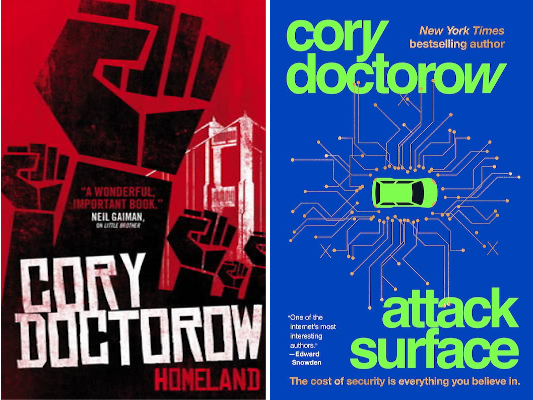 Cover art for Homeland and Attack Surface by Cory Doctorow